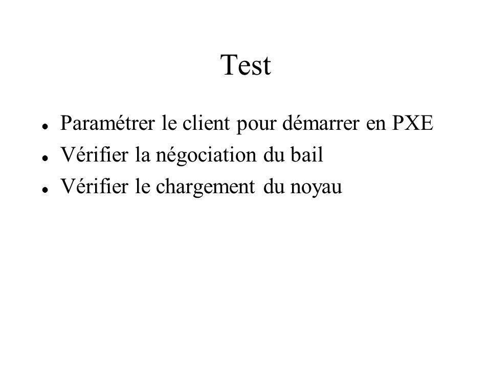 Test Paramétrer le client pour démarrer en PXE Vérifier la négociation du bail Vérifier le chargement du noyau