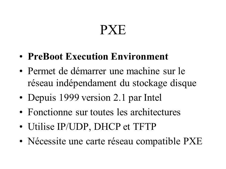 PXE PreBoot Execution Environment Permet de démarrer une machine sur le réseau indépendament du stockage disque Depuis 1999 version 2.1 par Intel Fonctionne sur toutes les architectures Utilise IP/UDP, DHCP et TFTP Nécessite une carte réseau compatible PXE