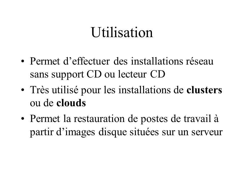 Utilisation Permet deffectuer des installations réseau sans support CD ou lecteur CD Très utilisé pour les installations de clusters ou de clouds Permet la restauration de postes de travail à partir dimages disque situées sur un serveur