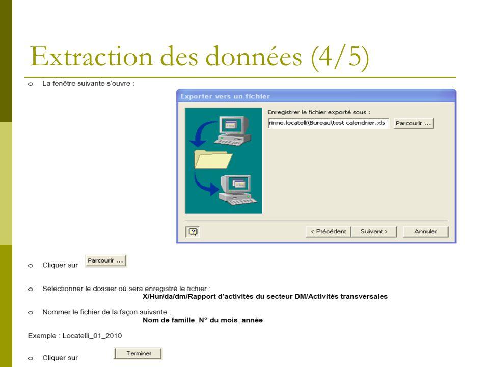 Extraction des données (5/5) La fenêtre suivante souvre : indiquer la plage dextraction des données du calendrier.