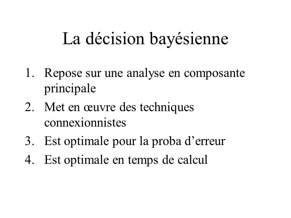 La décision bayésienne 1.Repose sur une analyse en composante principale 2.Met en œuvre des techniques connexionnistes 3.Est optimale pour la proba derreur 4.Est optimale en temps de calcul