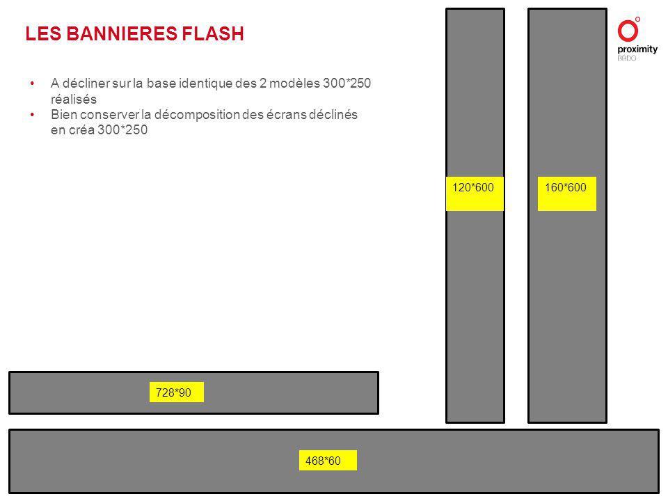728*90 120*600160*600 468*60 LES BANNIERES FLASH A décliner sur la base identique des 2 modèles 300*250 réalisés Bien conserver la décomposition des écrans déclinés en créa 300*250