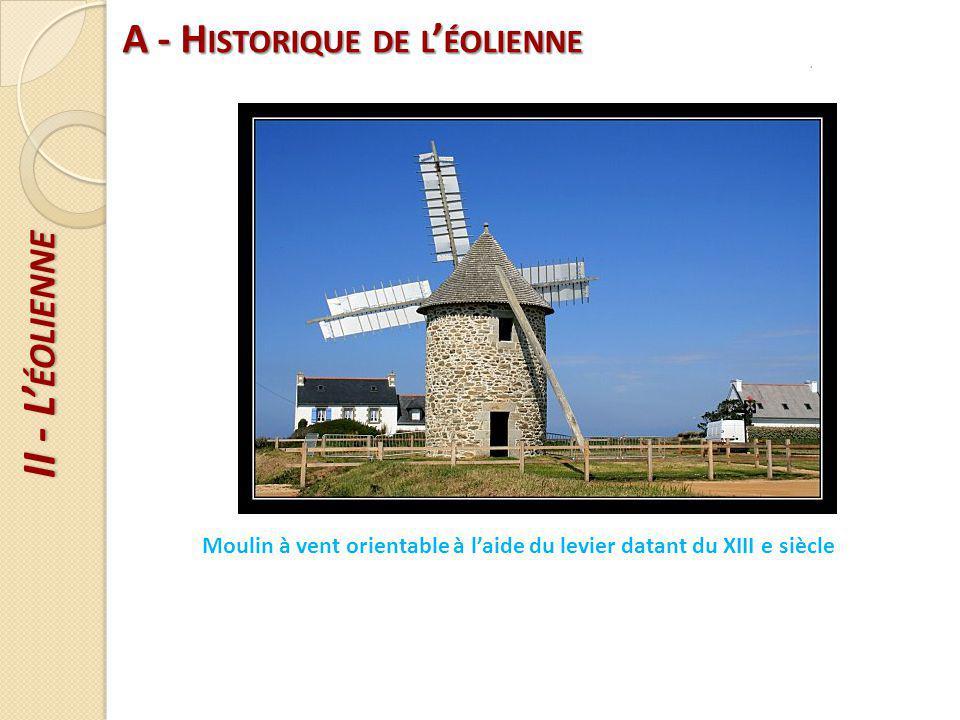 II - L ÉOLIENNE A - H ISTORIQUE DE L ÉOLIENNE Parc éolien destiné à l alimentation des collectivités locales En France : 3700 éoliennes éolienne de particulier