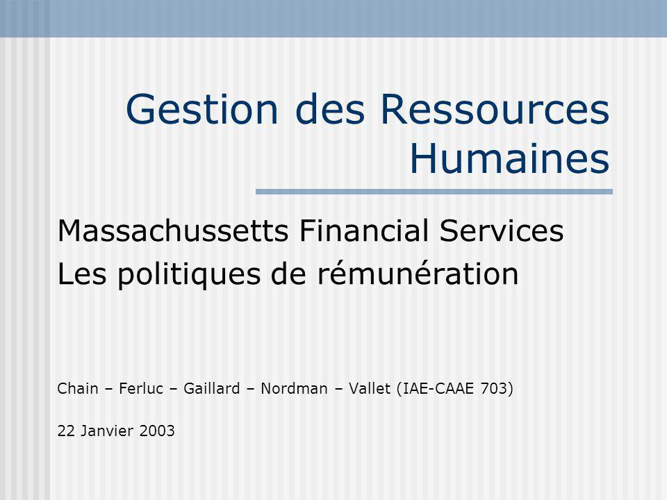Gestion des Ressources Humaines Massachussetts Financial Services Les politiques de rémunération Chain – Ferluc – Gaillard – Nordman – Vallet (IAE-CAAE 703) 22 Janvier 2003