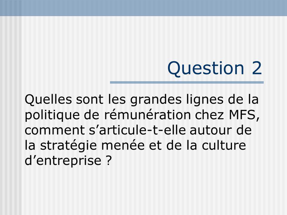Question 2 Quelles sont les grandes lignes de la politique de rémunération chez MFS, comment sarticule-t-elle autour de la stratégie menée et de la culture dentreprise ?