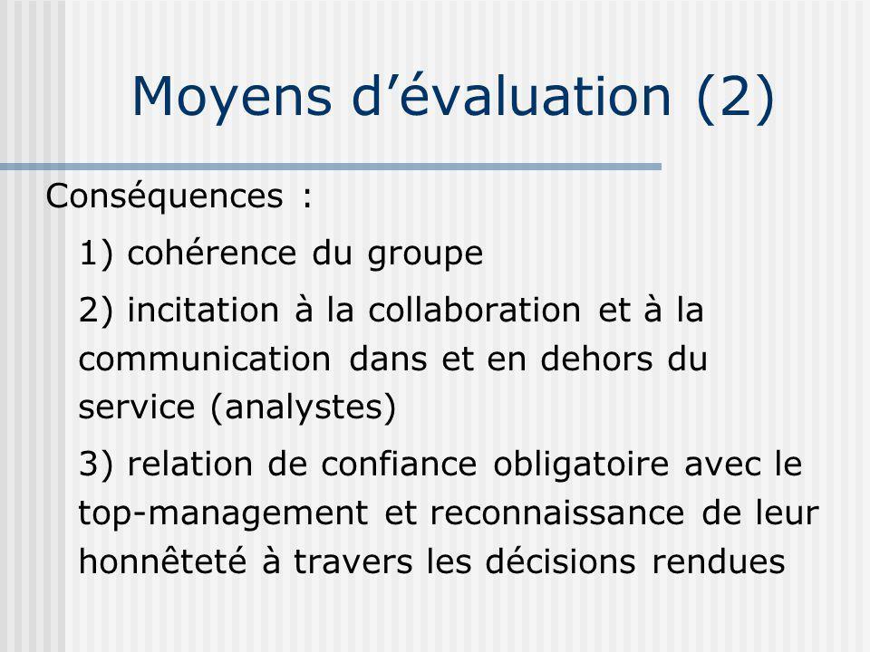 Conséquences : 1) cohérence du groupe 2) incitation à la collaboration et à la communication dans et en dehors du service (analystes) 3) relation de confiance obligatoire avec le top-management et reconnaissance de leur honnêteté à travers les décisions rendues Moyens dévaluation (2)