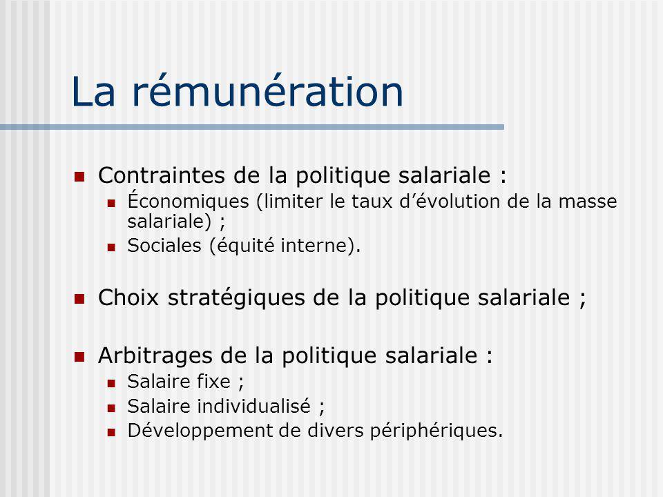 La rémunération Contraintes de la politique salariale : Économiques (limiter le taux dévolution de la masse salariale) ; Sociales (équité interne).