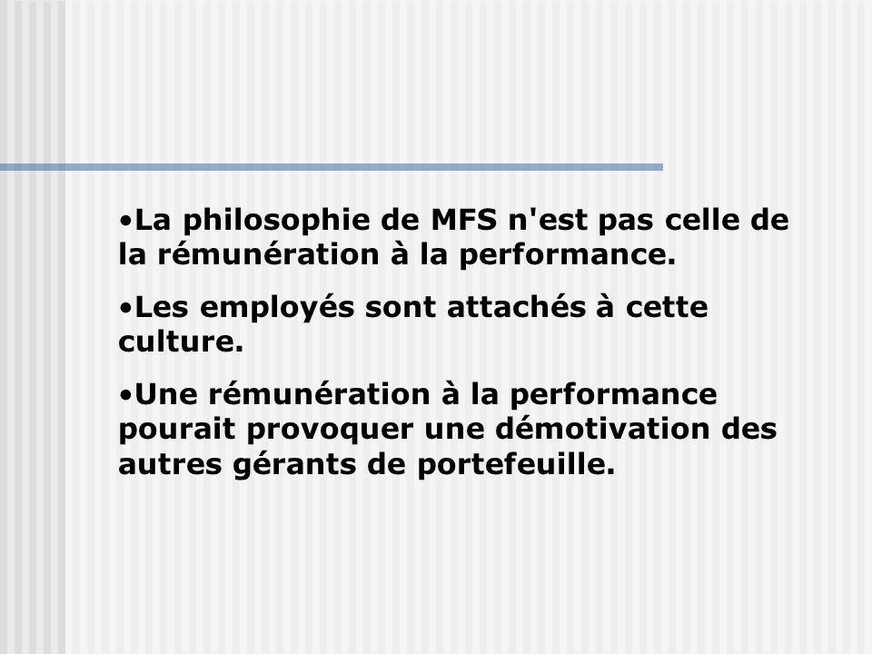 La philosophie de MFS n est pas celle de la rémunération à la performance.