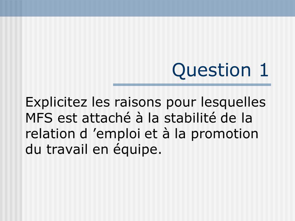 Question 1 Explicitez les raisons pour lesquelles MFS est attaché à la stabilité de la relation d emploi et à la promotion du travail en équipe.