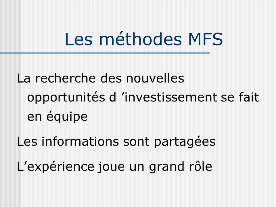 La recherche des nouvelles opportunités d investissement se fait en équipe Les informations sont partagées Lexpérience joue un grand rôle Les méthodes MFS