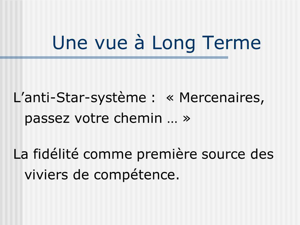 Lanti-Star-système : « Mercenaires, passez votre chemin … » La fidélité comme première source des viviers de compétence.