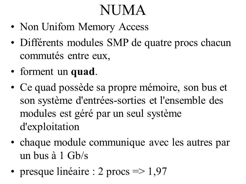 NUMA Non Unifom Memory Access Différents modules SMP de quatre procs chacun commutés entre eux, forment un quad. Ce quad possède sa propre mémoire, so