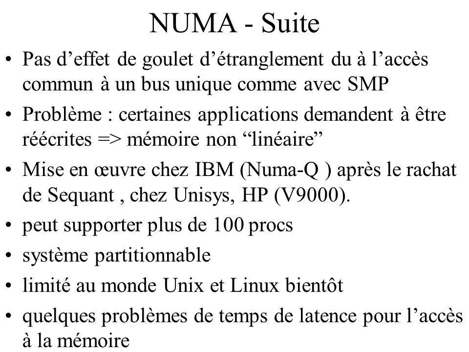 NUMA - Suite Pas deffet de goulet détranglement du à laccès commun à un bus unique comme avec SMP Problème : certaines applications demandent à être réécrites => mémoire non linéaire Mise en œuvre chez IBM (Numa-Q ) après le rachat de Sequant, chez Unisys, HP (V9000).