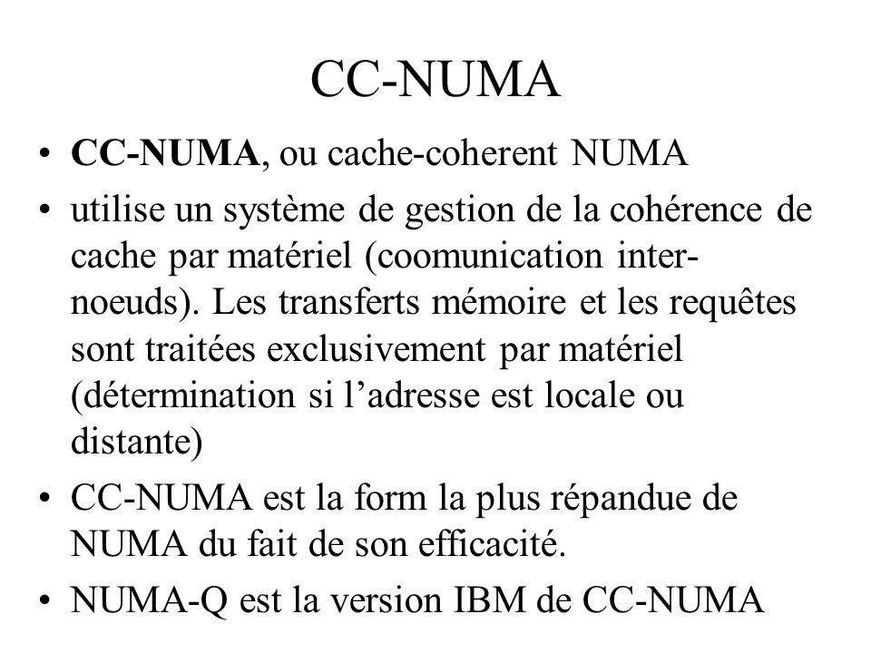 CC-NUMA CC-NUMA, ou cache-coherent NUMA utilise un système de gestion de la cohérence de cache par matériel (coomunication inter- noeuds).