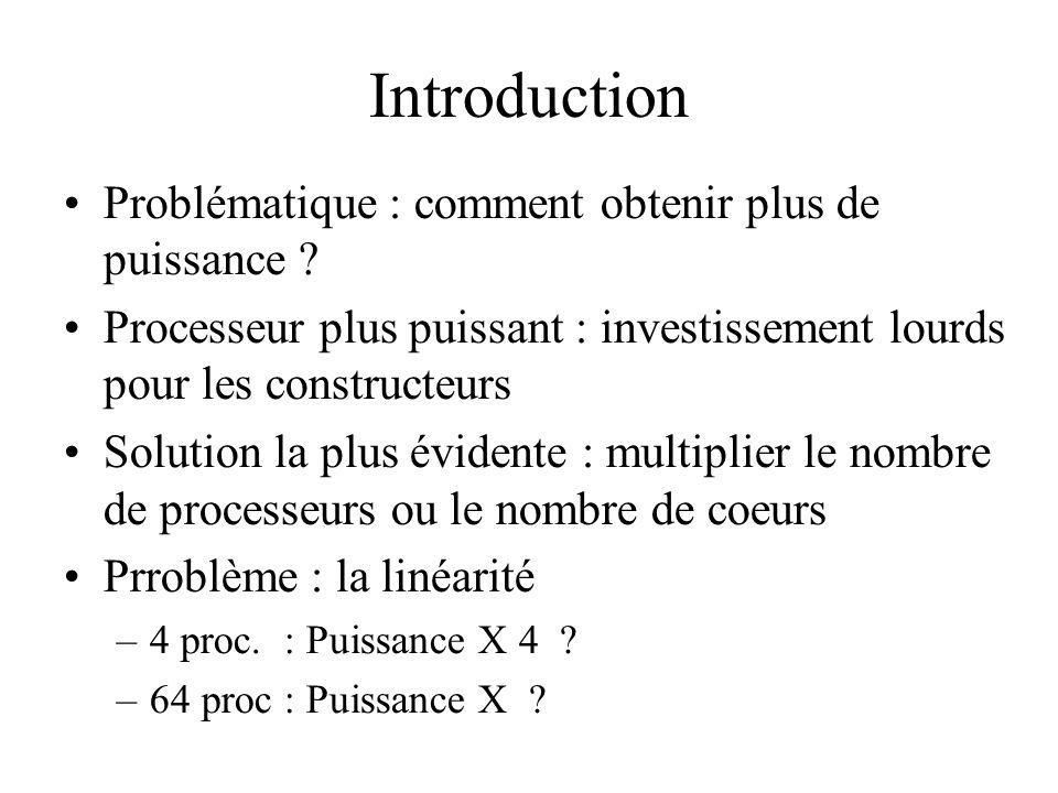 Introduction Problématique : comment obtenir plus de puissance ? Processeur plus puissant : investissement lourds pour les constructeurs Solution la p
