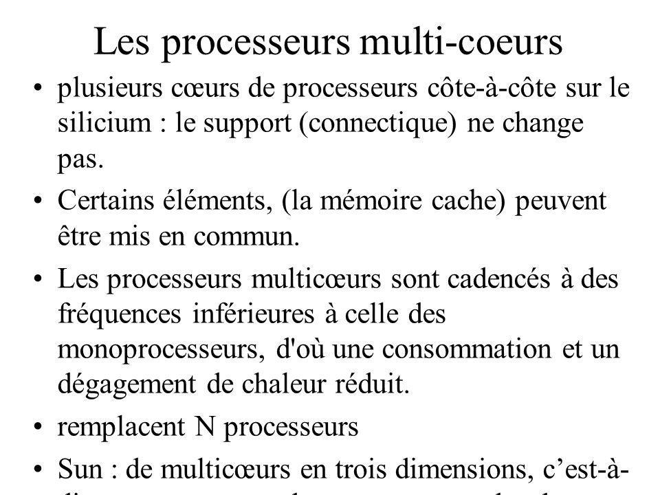 Les processeurs multi-coeurs plusieurs cœurs de processeurs côte-à-côte sur le silicium : le support (connectique) ne change pas. Certains éléments, (