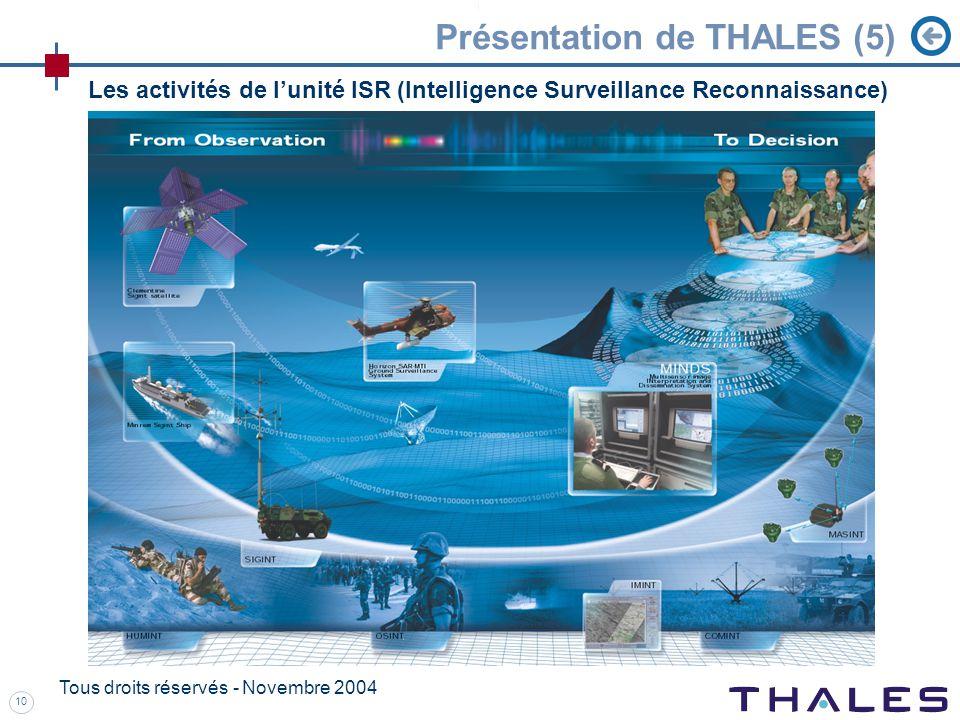 10 Tous droits réservés - Novembre 2004 Présentation de THALES (5) Les activités de lunité ISR (Intelligence Surveillance Reconnaissance)