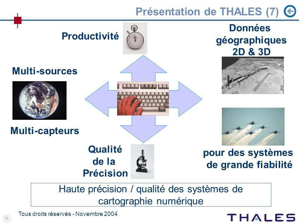 12 Tous droits réservés - Novembre 2004 Présentation de THALES (7) Haute précision / qualité des systèmes de cartographie numérique Productivité Qualité de la Précision Données géographiques 2D & 3D pour des systèmes de grande fiabilité Multi-sources Multi-capteurs