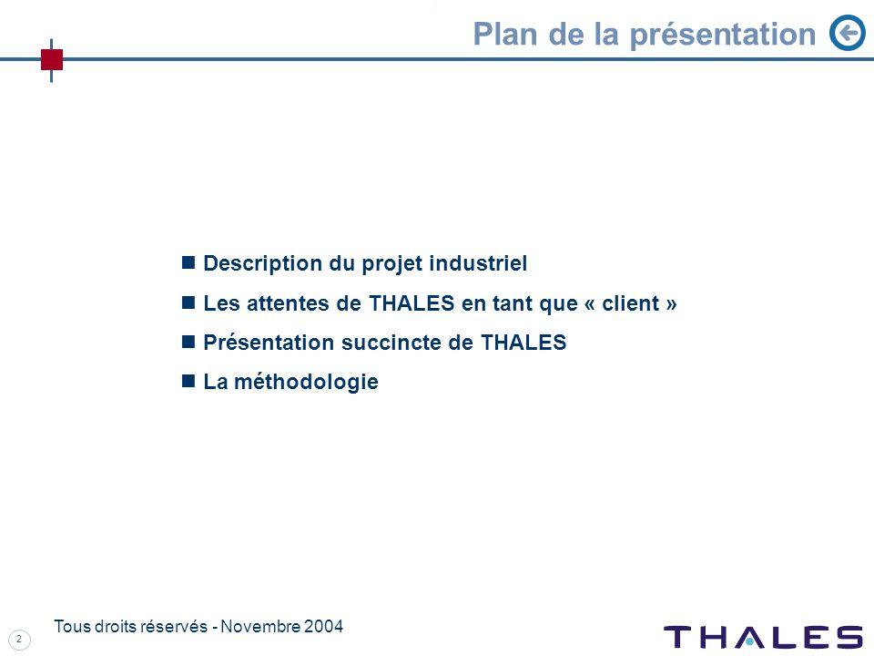 2 Tous droits réservés - Novembre 2004 Description du projet industriel Les attentes de THALES en tant que « client » Présentation succincte de THALES La méthodologie Plan de la présentation