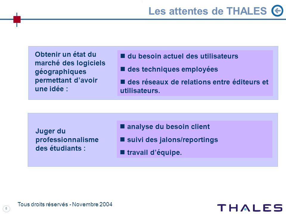 5 Tous droits réservés - Novembre 2004 Les attentes de THALES analyse du besoin client suivi des jalons/reportings travail déquipe.