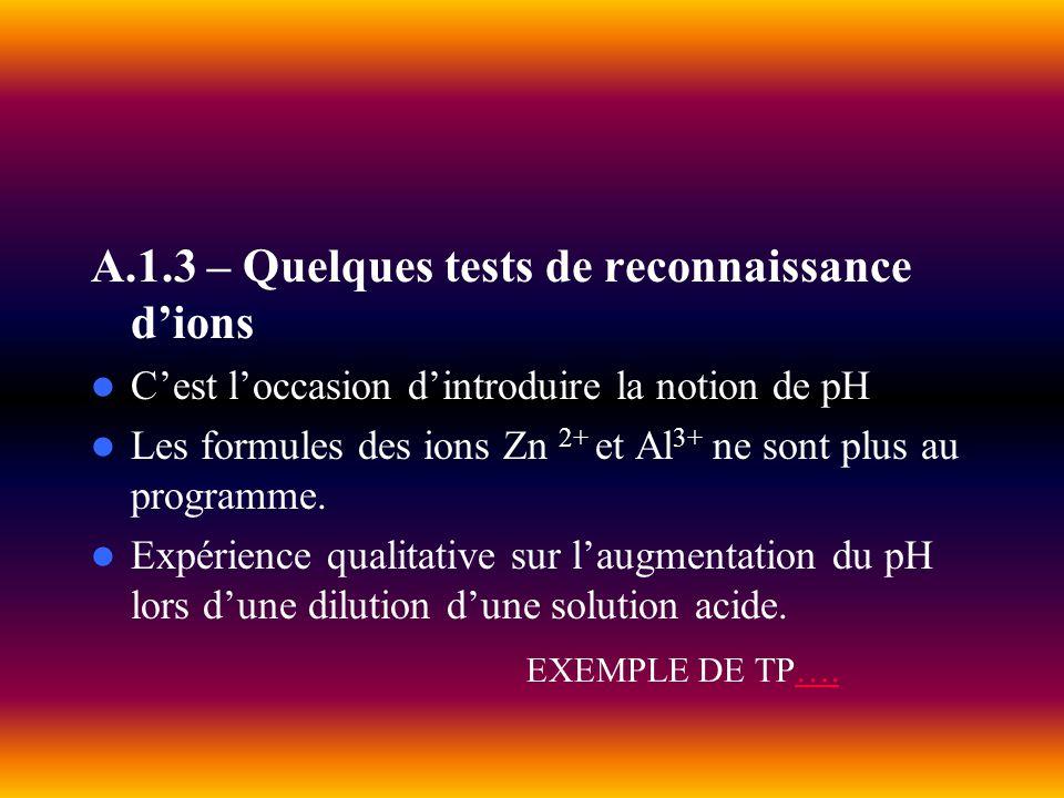 A.1.3 – Quelques tests de reconnaissance dions Cest loccasion dintroduire la notion de pH Les formules des ions Zn 2+ et Al 3+ ne sont plus au program