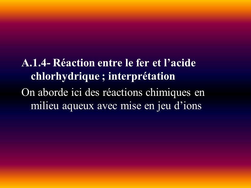 A.1.4- Réaction entre le fer et lacide chlorhydrique ; interprétation On aborde ici des réactions chimiques en milieu aqueux avec mise en jeu dions