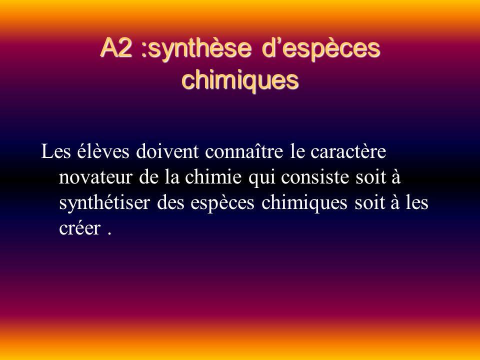 A2 :synthèse despèces chimiques Les élèves doivent connaître le caractère novateur de la chimie qui consiste soit à synthétiser des espèces chimiques