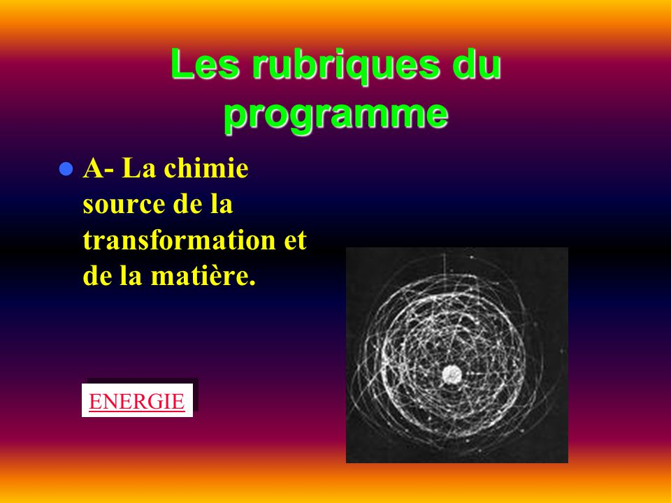 Les rubriques du programme A- La chimie source de la transformation et de la matière. ENERGIE