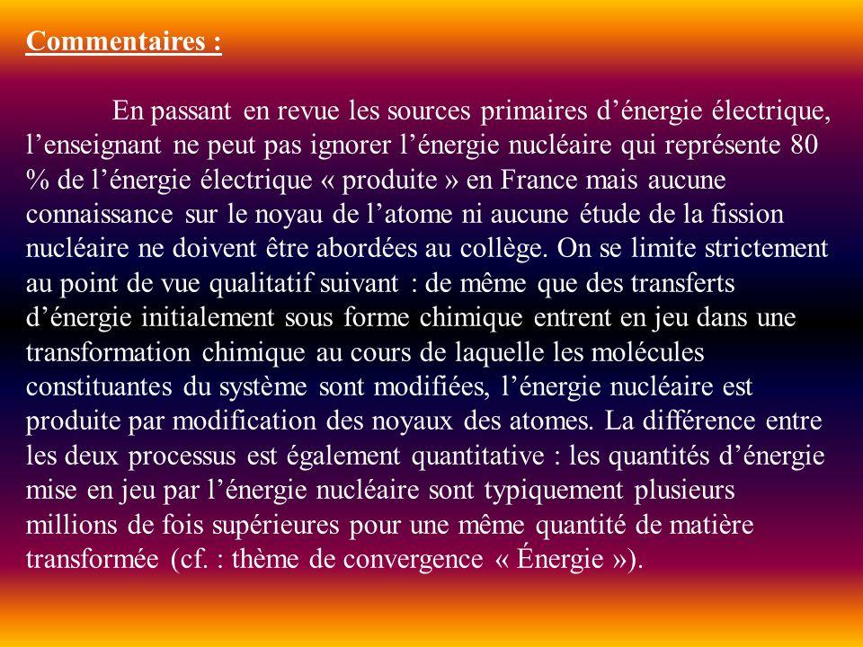 Commentaires : En passant en revue les sources primaires dénergie électrique, lenseignant ne peut pas ignorer lénergie nucléaire qui représente 80 % d