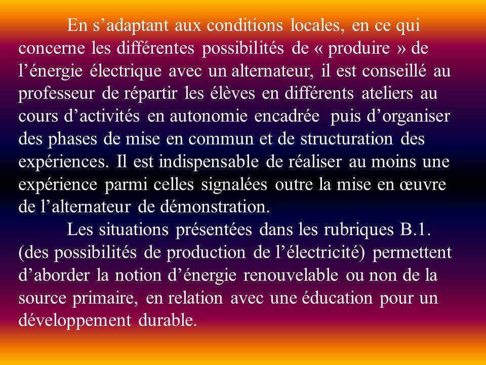 En sadaptant aux conditions locales, en ce qui concerne les différentes possibilités de « produire » de lénergie électrique avec un alternateur, il es
