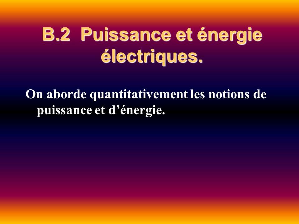 B.2 Puissance et énergie électriques. On aborde quantitativement les notions de puissance et dénergie.