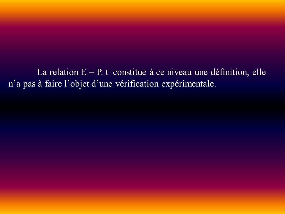 La relation E = P. t constitue à ce niveau une définition, elle na pas à faire lobjet dune vérification expérimentale.