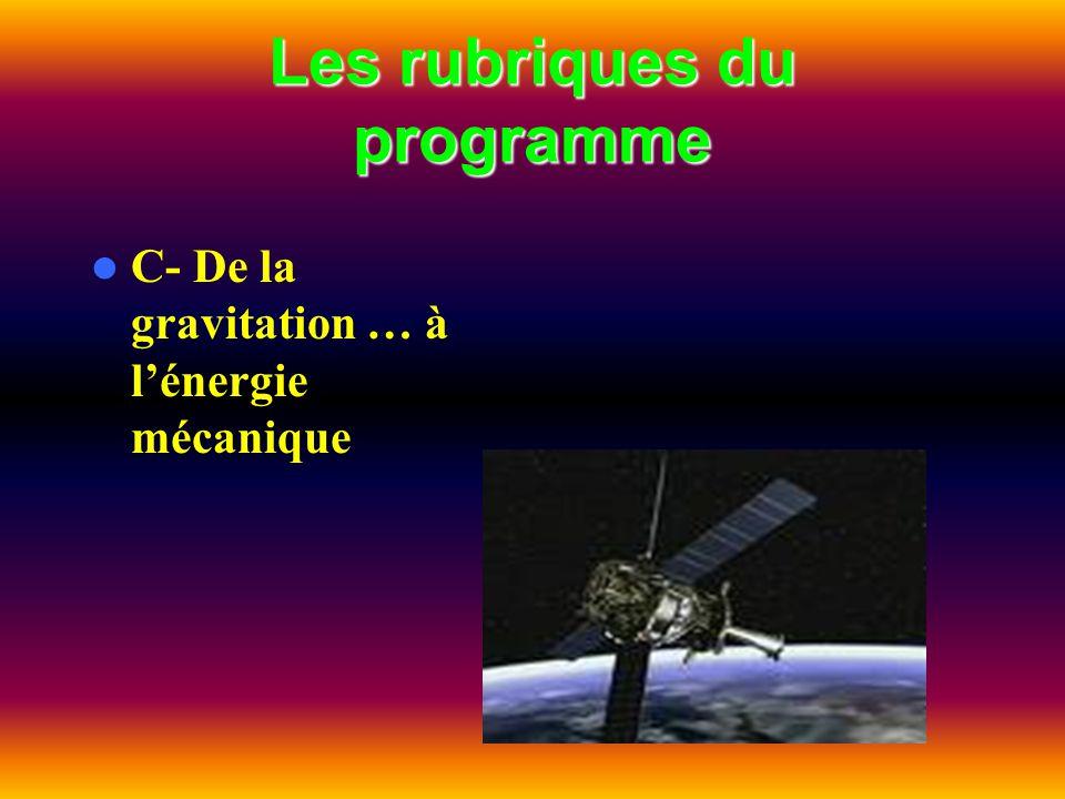 Les rubriques du programme C- De la gravitation … à lénergie mécanique