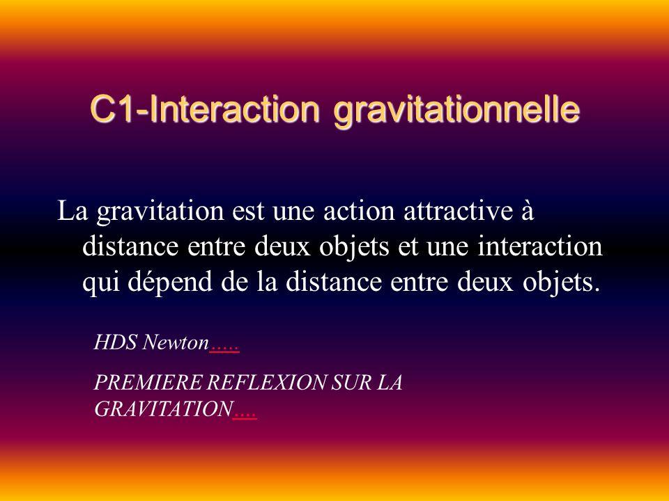C1-Interaction gravitationnelle La gravitation est une action attractive à distance entre deux objets et une interaction qui dépend de la distance ent
