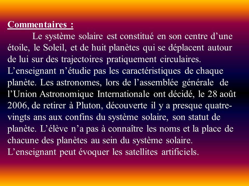 Commentaires : Le système solaire est constitué en son centre dune étoile, le Soleil, et de huit planètes qui se déplacent autour de lui sur des traje