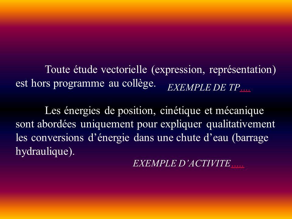 Toute étude vectorielle (expression, représentation) est hors programme au collège. Les énergies de position, cinétique et mécanique sont abordées uni
