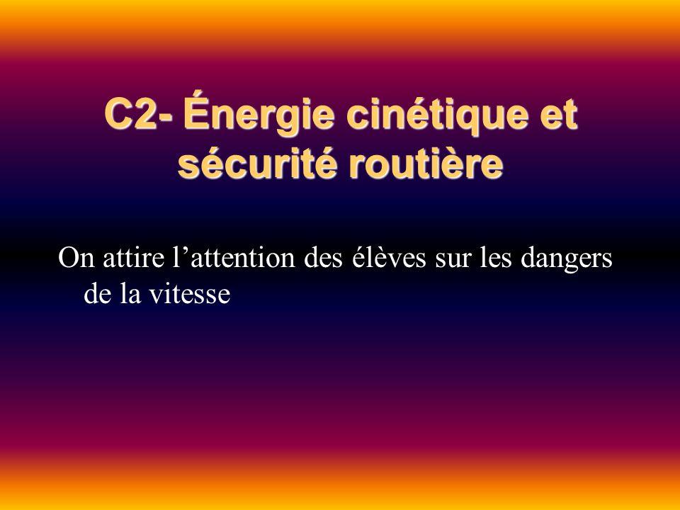 C2- Énergie cinétique et sécurité routière On attire lattention des élèves sur les dangers de la vitesse
