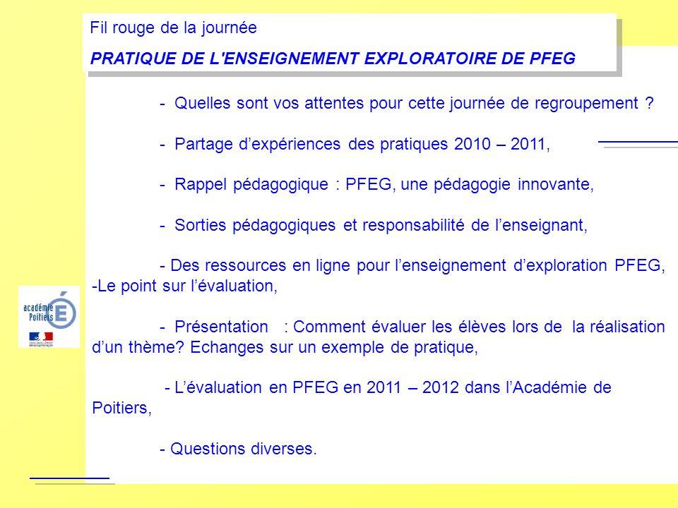- Rappels sur lenseignement dexploration PFEG, - Quelles sont vos attentes pour cette journée de regroupement ? - Partage dexpériences des pratiques 2