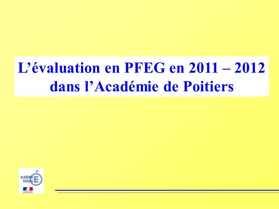 Lévaluation en PFEG en 2011 – 2012 dans lAcadémie de Poitiers