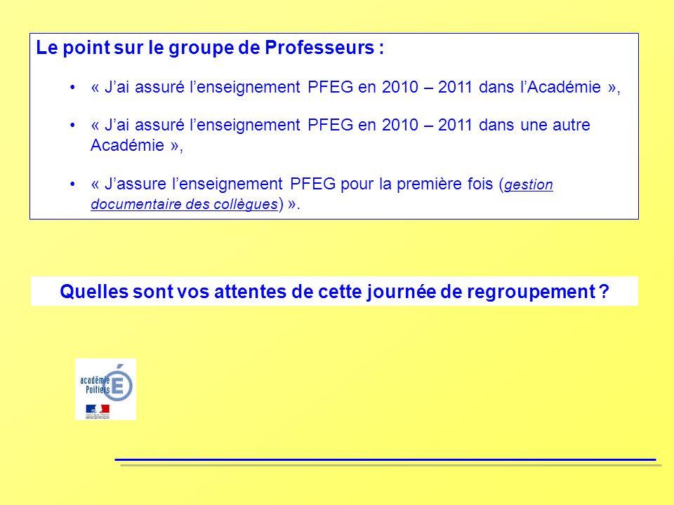 Le point sur le groupe de Professeurs : « Jai assuré lenseignement PFEG en 2010 – 2011 dans lAcadémie », « Jai assuré lenseignement PFEG en 2010 – 201