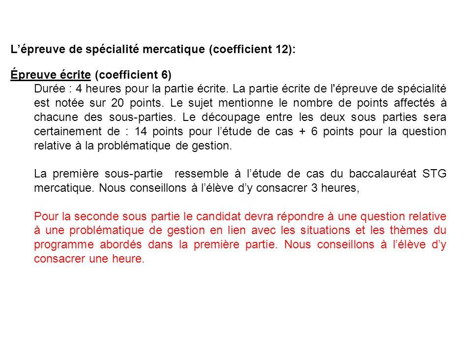 Lépreuve de spécialité mercatique (coefficient 12): Épreuve écrite (coefficient 6) Durée : 4 heures pour la partie écrite.