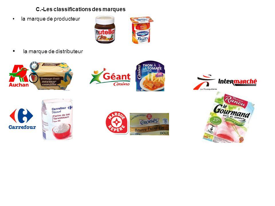 la marque de producteur la marque de distributeur C.-Les classifications des marques