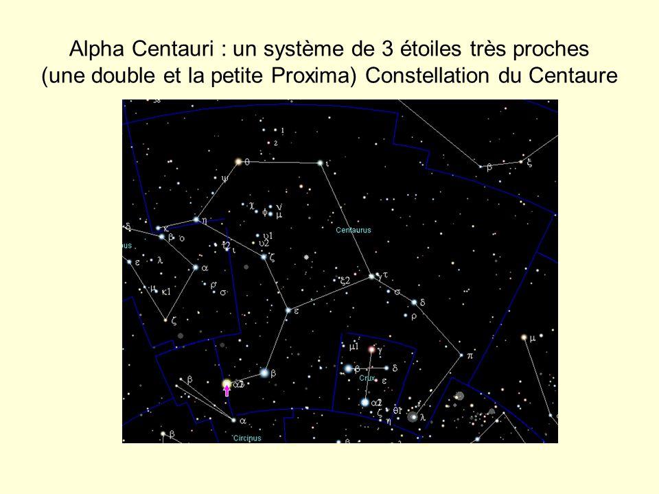 Alpha Centauri : un système de 3 étoiles très proches (une double et la petite Proxima) Constellation du Centaure