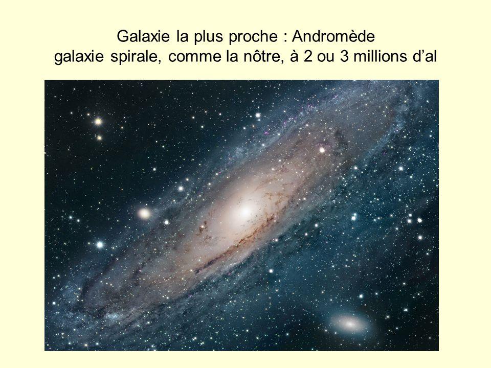 Galaxie la plus proche : Andromède galaxie spirale, comme la nôtre, à 2 ou 3 millions dal