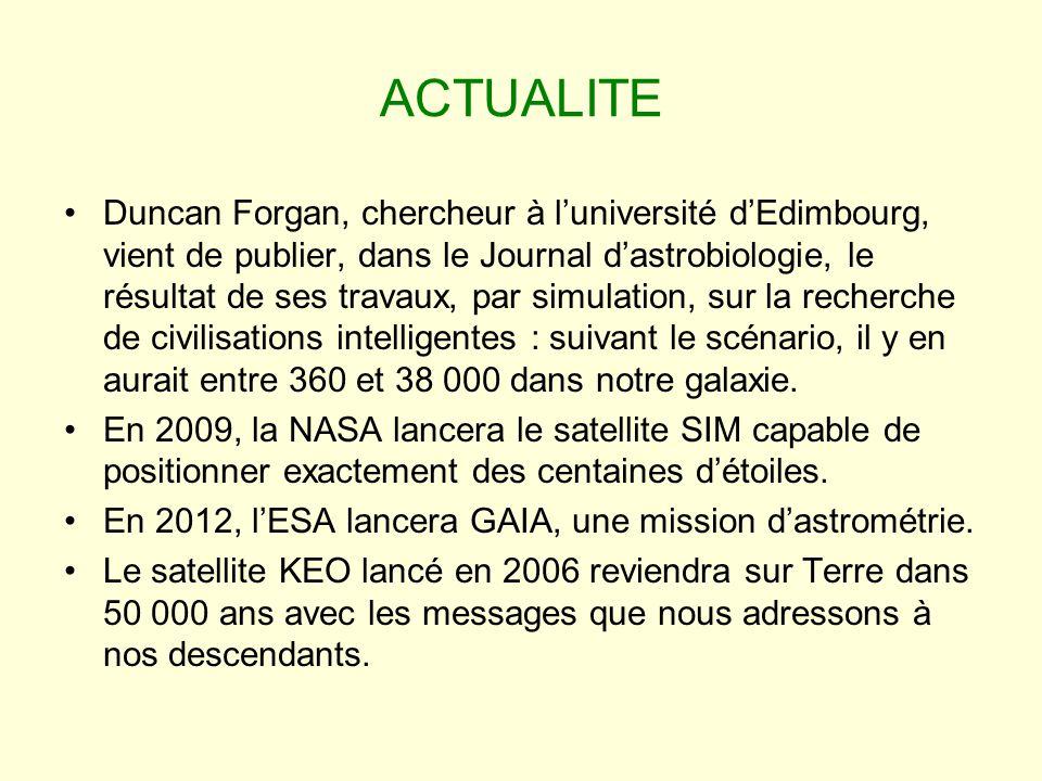 ACTUALITE Duncan Forgan, chercheur à luniversité dEdimbourg, vient de publier, dans le Journal dastrobiologie, le résultat de ses travaux, par simulat