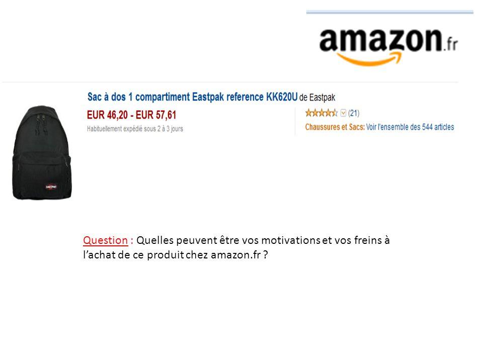 Question : Quelles peuvent être vos motivations et vos freins à lachat de ce produit chez amazon.fr ?