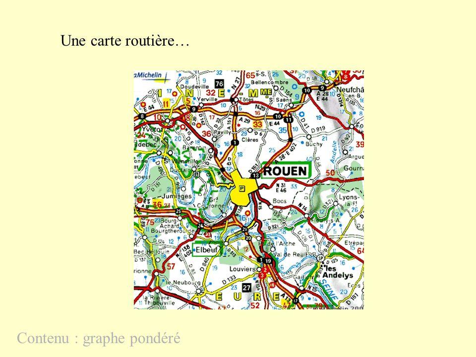 Une carte routière… Contenu : graphe pondéré