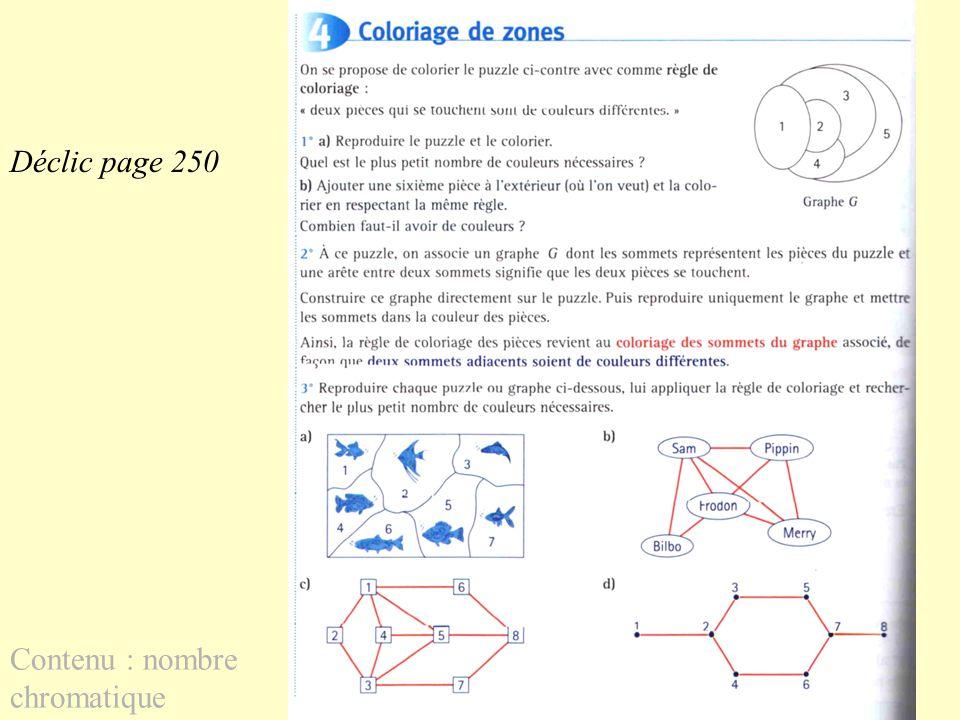 Déclic page 250 Contenu : nombre chromatique