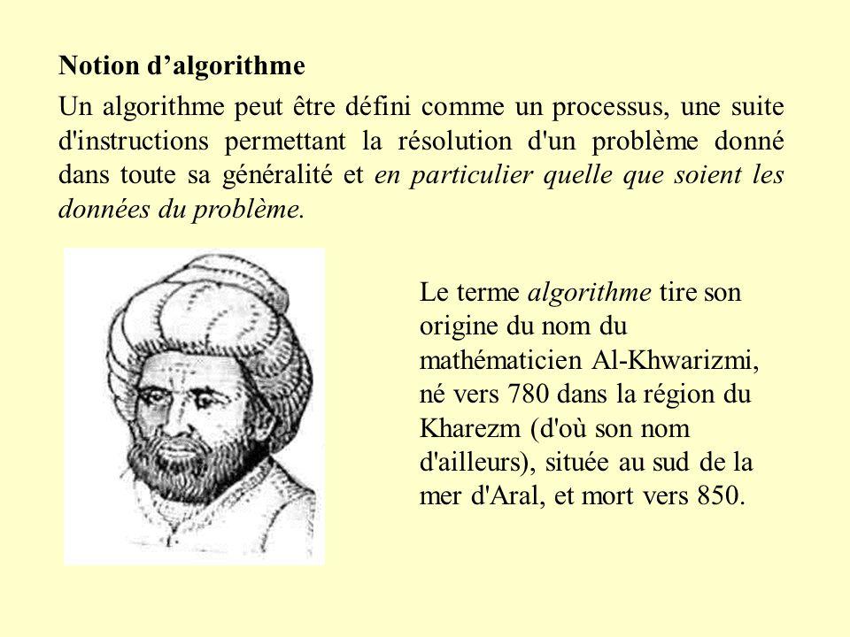 Notion dalgorithme Un algorithme peut être défini comme un processus, une suite d instructions permettant la résolution d un problème donné dans toute sa généralité et en particulier quelle que soient les données du problème.