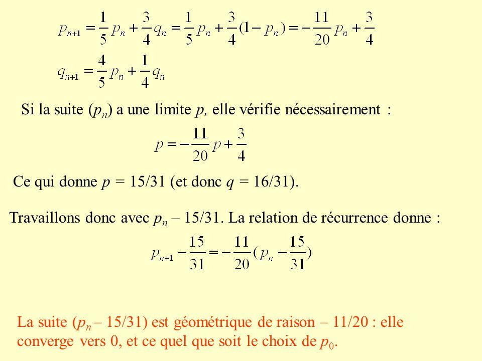 Si la suite (p n ) a une limite p, elle vérifie nécessairement : Ce qui donne p = 15/31 (et donc q = 16/31). Travaillons donc avec p n – 15/31. La rel
